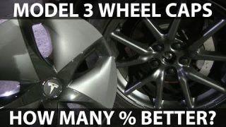 Model 3 med og uten hjulkapsler på. Hva blir strømforbruket?